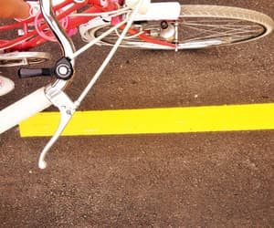 bicycle, white, and on the road image