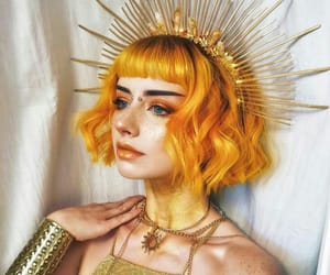 girl, hair, and yellow image