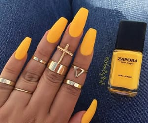 nails, yellow, and rings image
