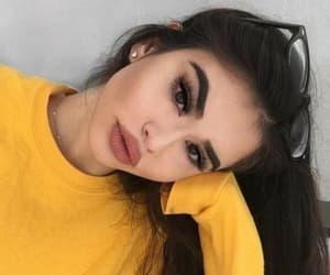 girl, makeup, and yellow image