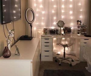 bedroom, home decor, and vanity image