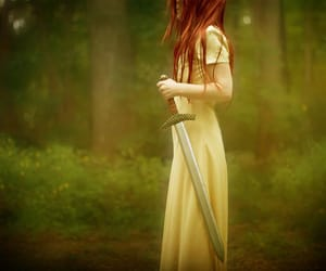 redhead sword whitedress image