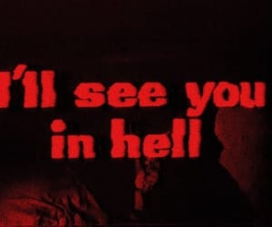 hell, black and white, and text image