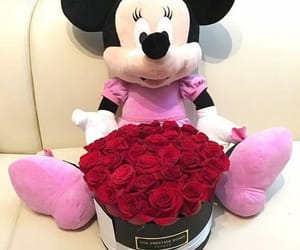 flowers, teddy bear, and minnie image