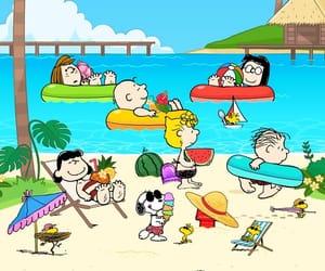 beach, peanuts, and woodstock image