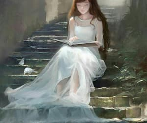 girl, painting, and white image