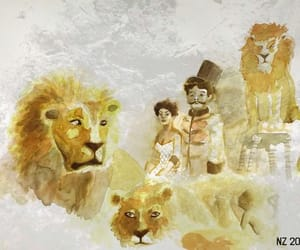 art, circus, and lions image