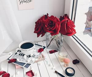 coffee, rose, and makeup image
