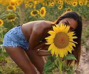 beautiful girl, flowers, and spring image