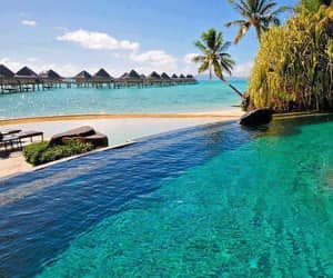bora bora, holidays, and pool image