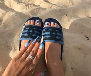 beach, nails, and chanel image