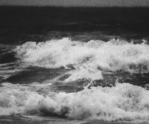 black and white, ocean, and sea image