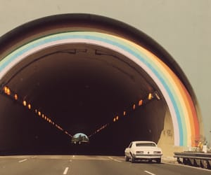 vintage, rainbow, and tunnel image
