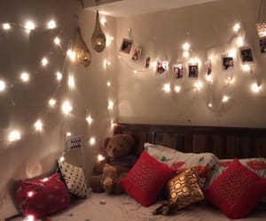 bedroom, fairy lights, and lamps image