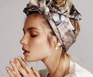 hairstyle, hair, and scarf image