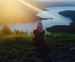 hijab, blue, and sun image