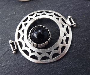 circle, antique silver, and jade connector image