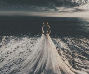 dress, sea, and wedding image