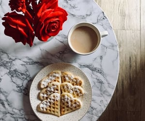 coffee, waffles, and flowers image