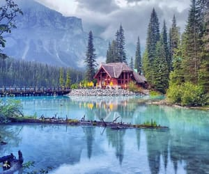lake, house, and mountains image