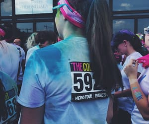 festival, girl, and color run image