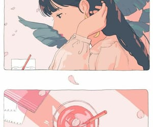girl, illustration, and pink image