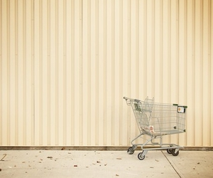 sepia, shopping cart, and stripes image