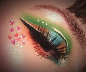 fake lashes, green, and stars image