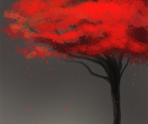 red, wolf, and tree image