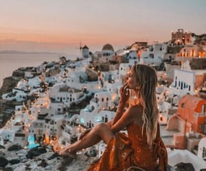 sunset, girl, and Greece image