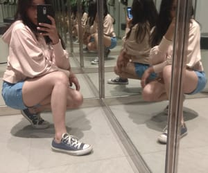 blue shorts, crop, and convers image
