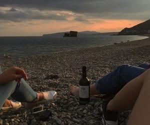 beach, wine, and grunge image