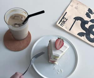 cake, coffee, and drink image