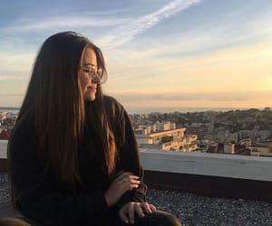 brunette, dusk, and glasses image
