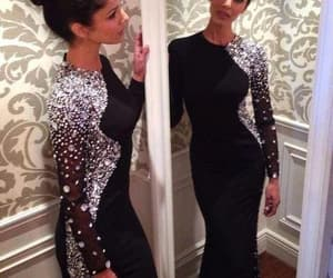 prom dress, black prom dress, and long sleeves prom dress image
