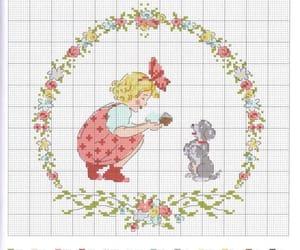 cross-stitch, flowers, and pattern image