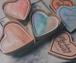makeup, heart, and rainbow image