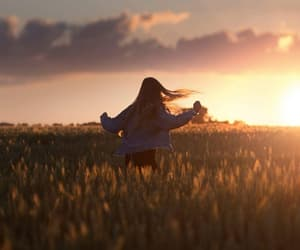 girl, sunset, and flowers image