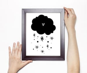 black and white, nursery, and stars image