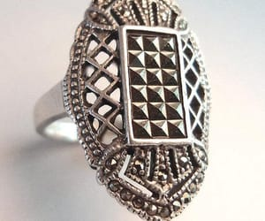 art deco, sterling silver, and vintage ring image