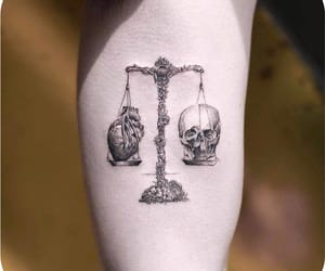 tattoo, heart, and skull image