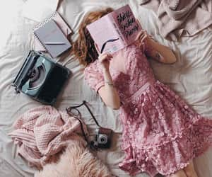 books, pink, and reading image