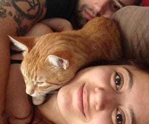 boyfriend, girlfriend, and cat image