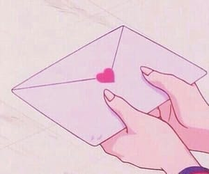 anime, pink, and Letter image