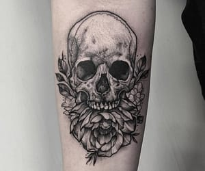 skull, tattoo, and art image