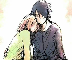 sakura, sharingan, and sasuke image