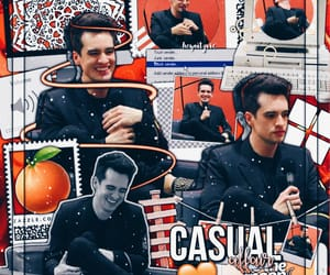 brendon urie, orange, and panic! at the disco image