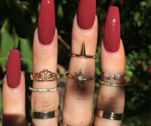 nails, jewelry, and red image