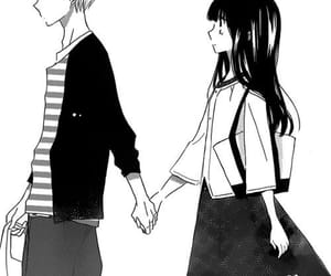manga, black and white, and couple image