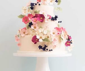 cake, flowers, and wedding image
